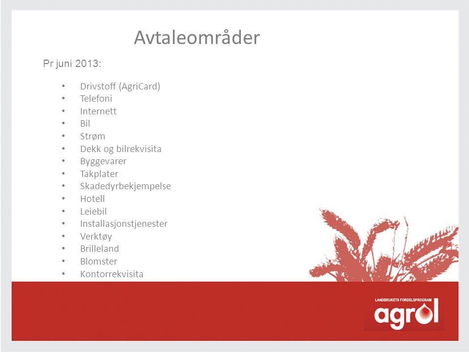 Avtaleområder Pr juni 2013: • Drivstoff (AgriCard) • Telefoni • Internett • Bil • Strøm • Dekk og bilrekvisita • Byggevarer • Takplater • Skadedyrbekjempelse • Hotell • Leiebil • Installasjonstjenester • Verktøy • Brilleland • Blomster • Kontorrekvisita
