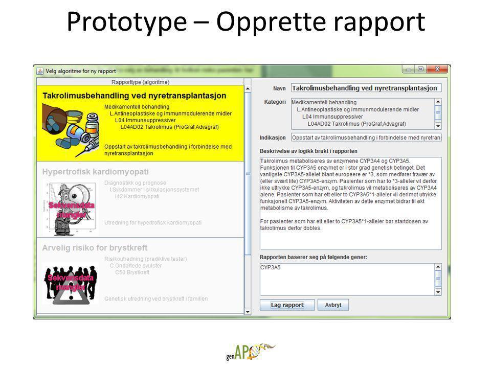 Prototype – Opprette rapport
