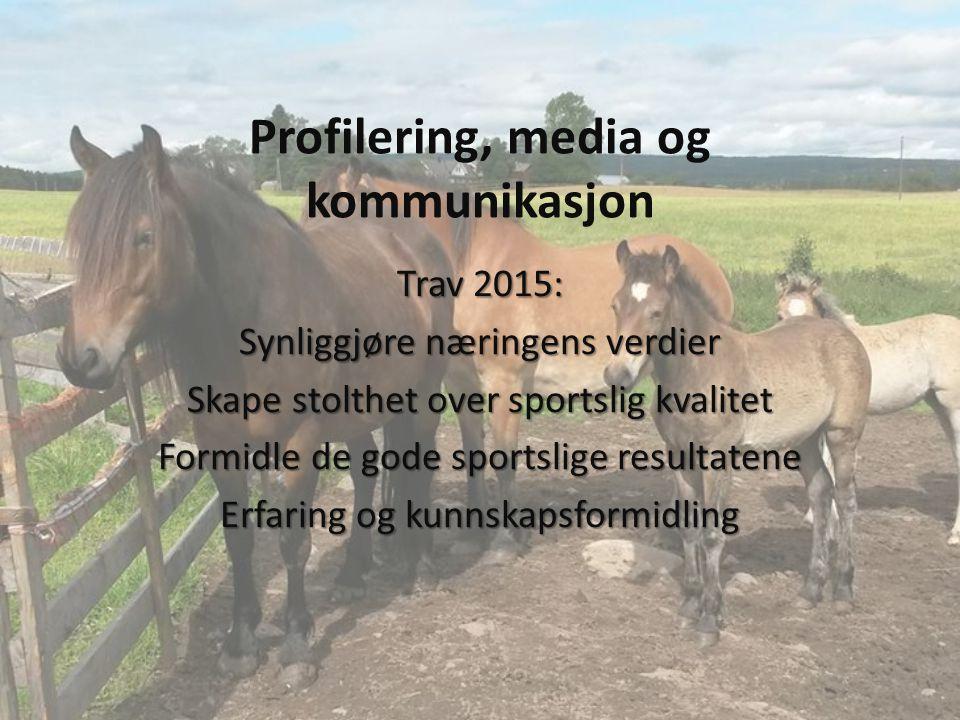 Profilering, media og kommunikasjon Trav 2015: Synliggjøre næringens verdier Skape stolthet over sportslig kvalitet Formidle de gode sportslige resultatene Erfaring og kunnskapsformidling