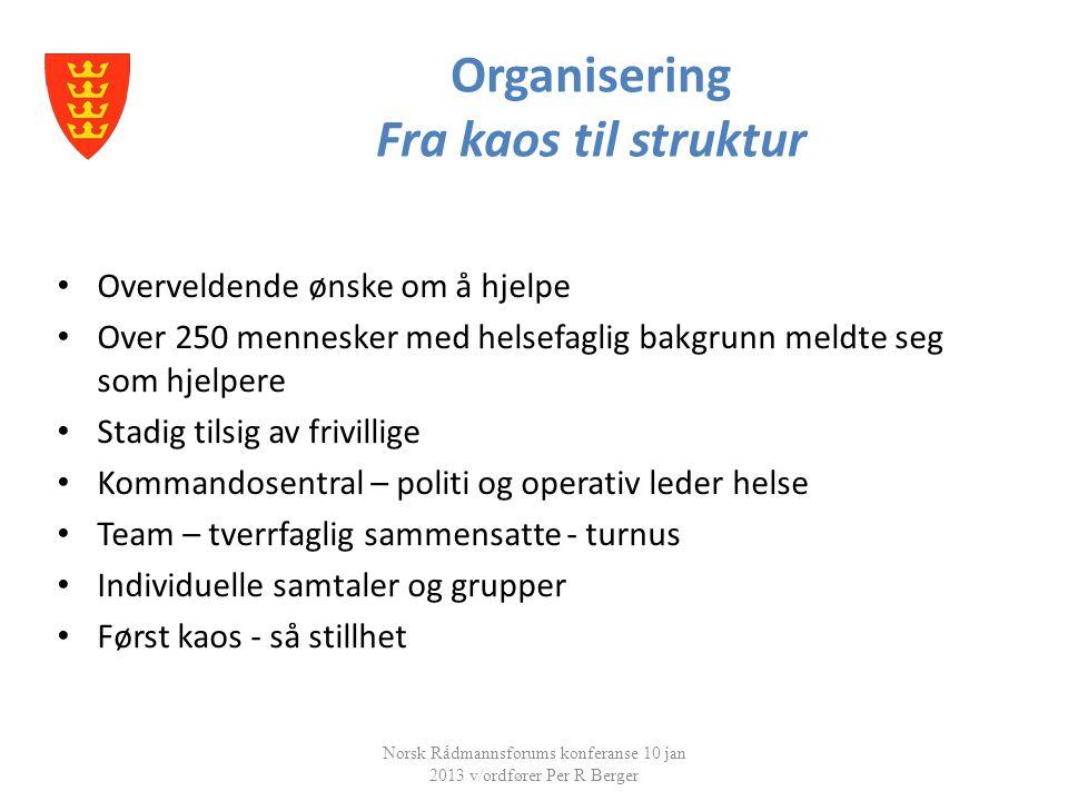 Organisering Fra kaos til struktur Norsk Rådmannsforums konferanse 10 jan 2013 v/ordfører Per R Berger • Overveldende ønske om å hjelpe • Over 250 men