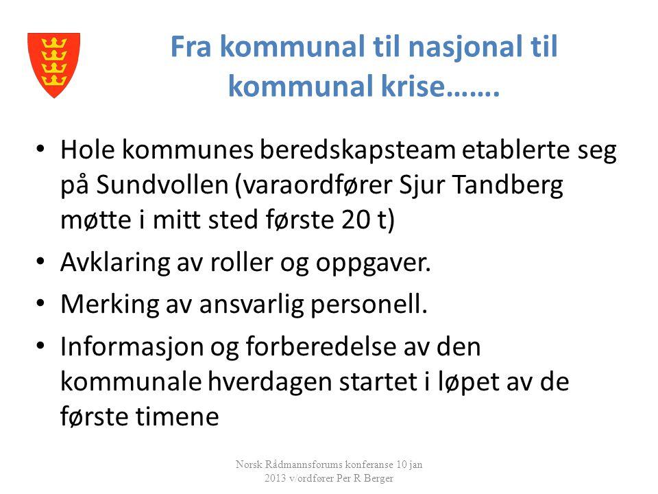 Fra kommunal til nasjonal til kommunal krise……. Norsk Rådmannsforums konferanse 10 jan 2013 v/ordfører Per R Berger • Hole kommunes beredskapsteam eta