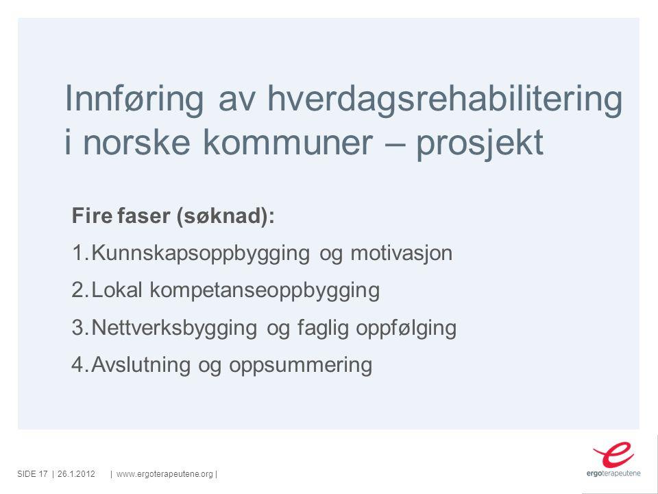 SIDE ||www.ergoterapeutene.org| Innføring av hverdagsrehabilitering i norske kommuner – prosjekt 26.1.2012 Fire faser (søknad): 1.Kunnskapsoppbygging