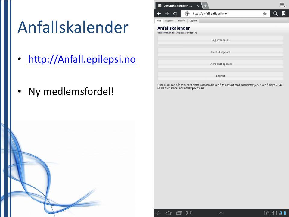 Anfallskalender • http://Anfall.epilepsi.no http://Anfall.epilepsi.no • Ny medlemsfordel!