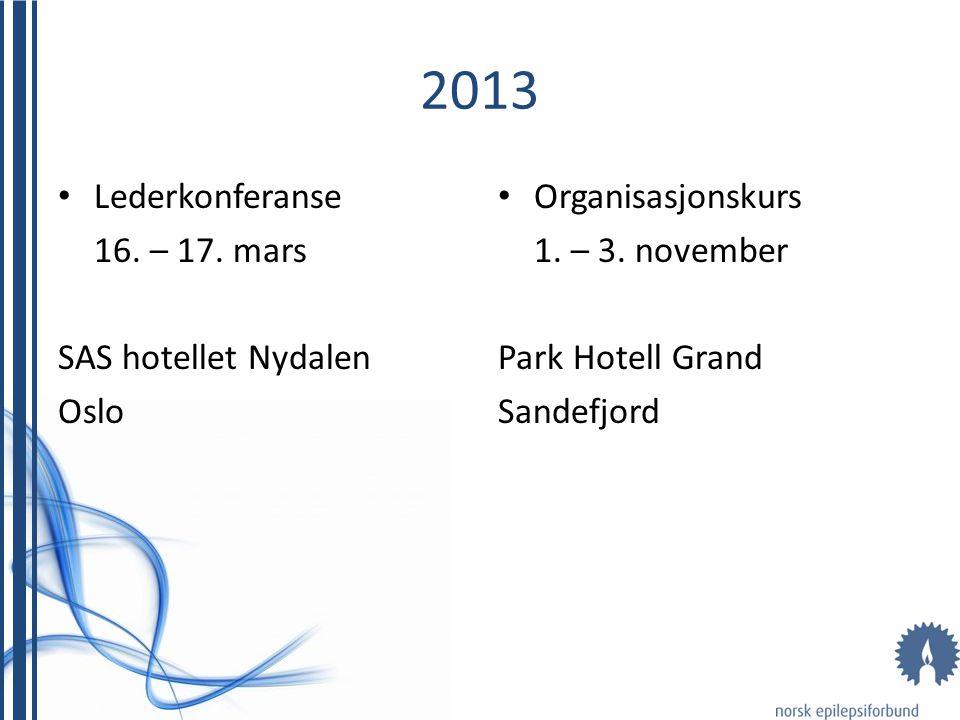 2013 • Lederkonferanse 16. – 17. mars SAS hotellet Nydalen Oslo • Organisasjonskurs 1. – 3. november Park Hotell Grand Sandefjord