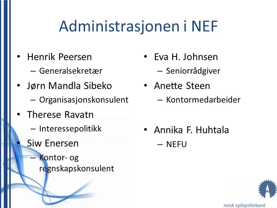 Administrasjonen i NEF • Henrik Peersen – Generalsekretær • Jørn Mandla Sibeko – Organisasjonskonsulent • Therese Ravatn – Interessepolitikk • Siw Ene