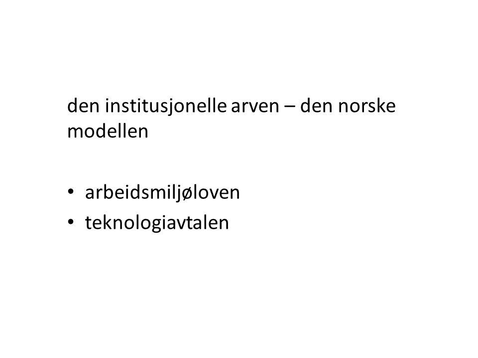 den institusjonelle arven – den norske modellen • arbeidsmiljøloven • teknologiavtalen