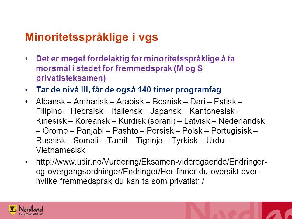 Norsk for minoritetsspråklige i vgs •På studieforberedende kan opptil 280 timer tas fra programfag og brukes til styrking av norsk og/eller engelsk •NOR3001 Norsk, Vg1 •NOR3002 Norsk, Vg2 •NOR3003 Norsk, Vg3 •ENG3001 Engelsk, Vg1 •ENG3002 Engelsk, Vg2 •ENG3003 Engelsk, Vg3