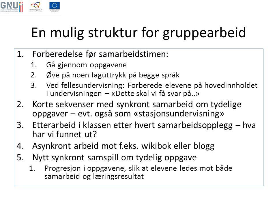 En mulig struktur for gruppearbeid 1.Forberedelse før samarbeidstimen: 1.Gå gjennom oppgavene 2.Øve på noen faguttrykk på begge språk 3.Ved fellesunde