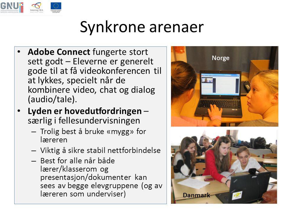 Synkrone arenaer • Adobe Connect fungerte stort sett godt – Eleverne er generelt gode til at få videokonferencen til at lykkes, specielt når de kombin