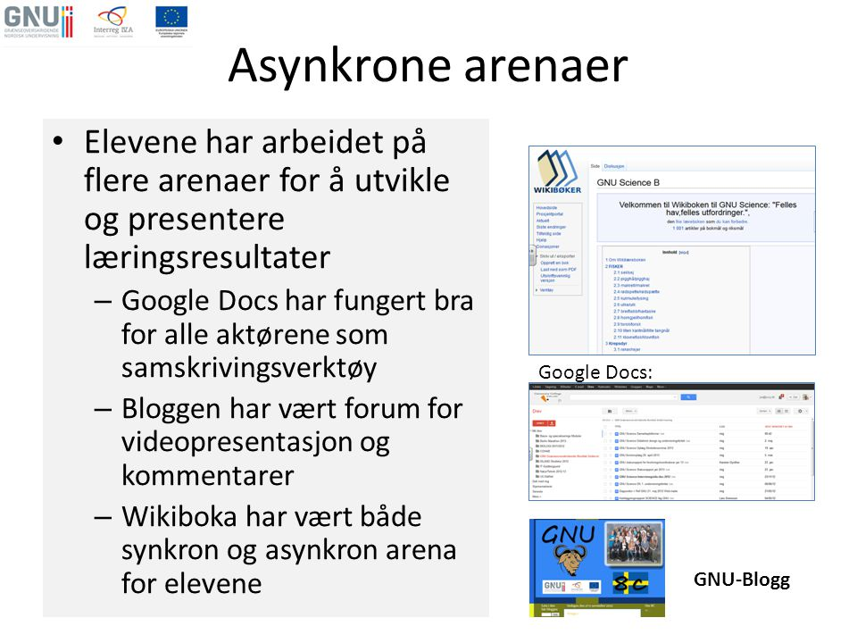 Asynkrone arenaer • Elevene har arbeidet på flere arenaer for å utvikle og presentere læringsresultater – Google Docs har fungert bra for alle aktøren
