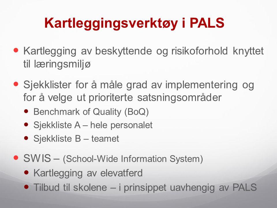 Kartleggingsverktøy i PALS  Kartlegging av beskyttende og risikoforhold knyttet til læringsmiljø  Sjekklister for å måle grad av implementering og f