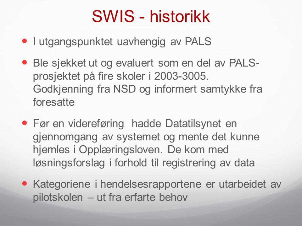 SWIS - historikk  I utgangspunktet uavhengig av PALS  Ble sjekket ut og evaluert som en del av PALS- prosjektet på fire skoler i 2003-3005. Godkjenn