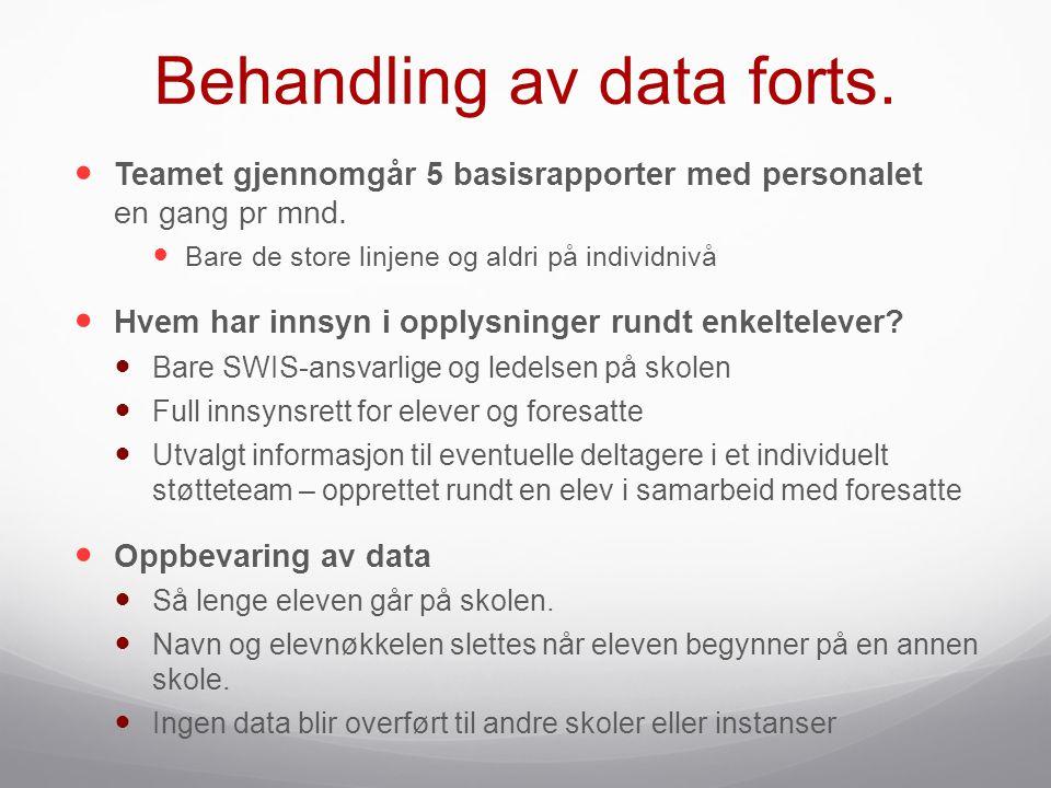 Behandling av data forts.  Teamet gjennomgår 5 basisrapporter med personalet en gang pr mnd.  Bare de store linjene og aldri på individnivå  Hvem h