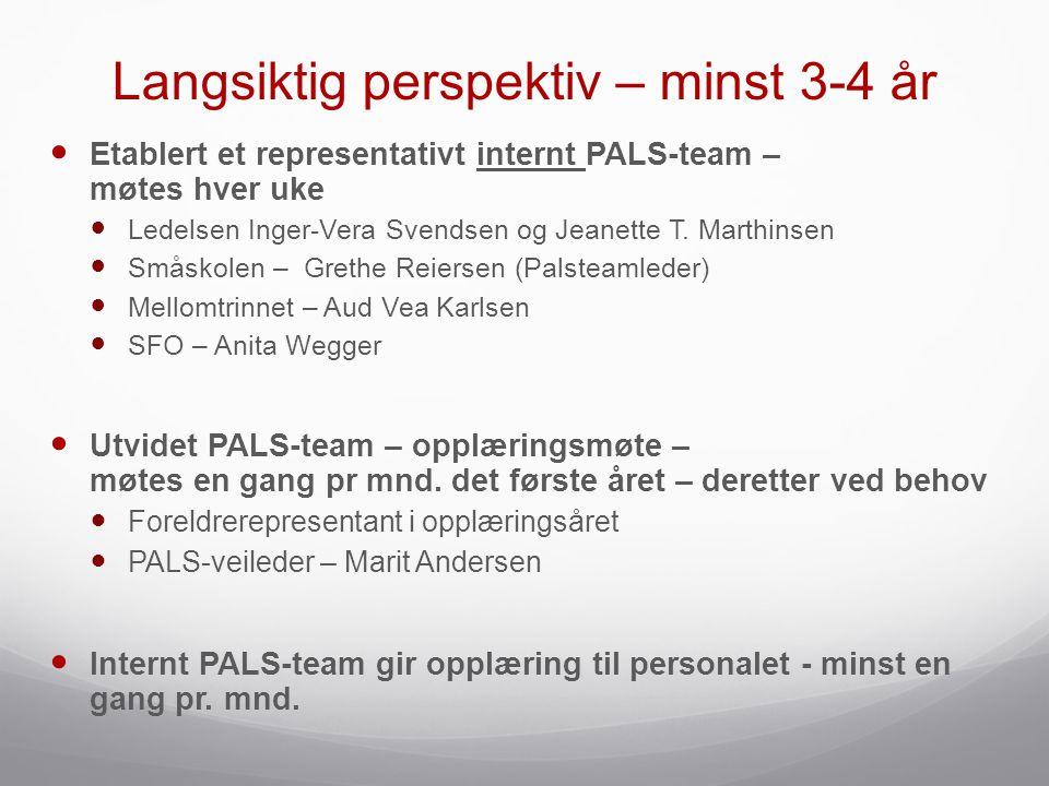 Langsiktig perspektiv – minst 3-4 år  Etablert et representativt internt PALS-team – møtes hver uke  Ledelsen Inger-Vera Svendsen og Jeanette T. Mar