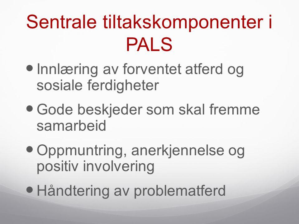 Sentrale tiltakskomponenter i PALS  Innlæring av forventet atferd og sosiale ferdigheter  Gode beskjeder som skal fremme samarbeid  Oppmuntring, an