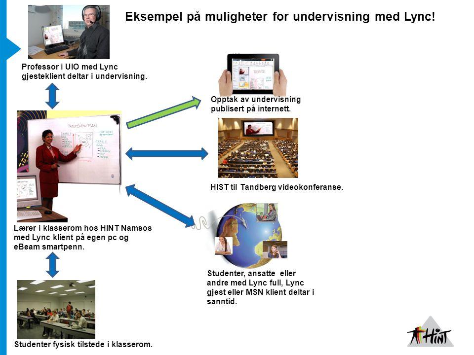 Opptak av undervisning publisert på internett.HIST til Tandberg videokonferanse.
