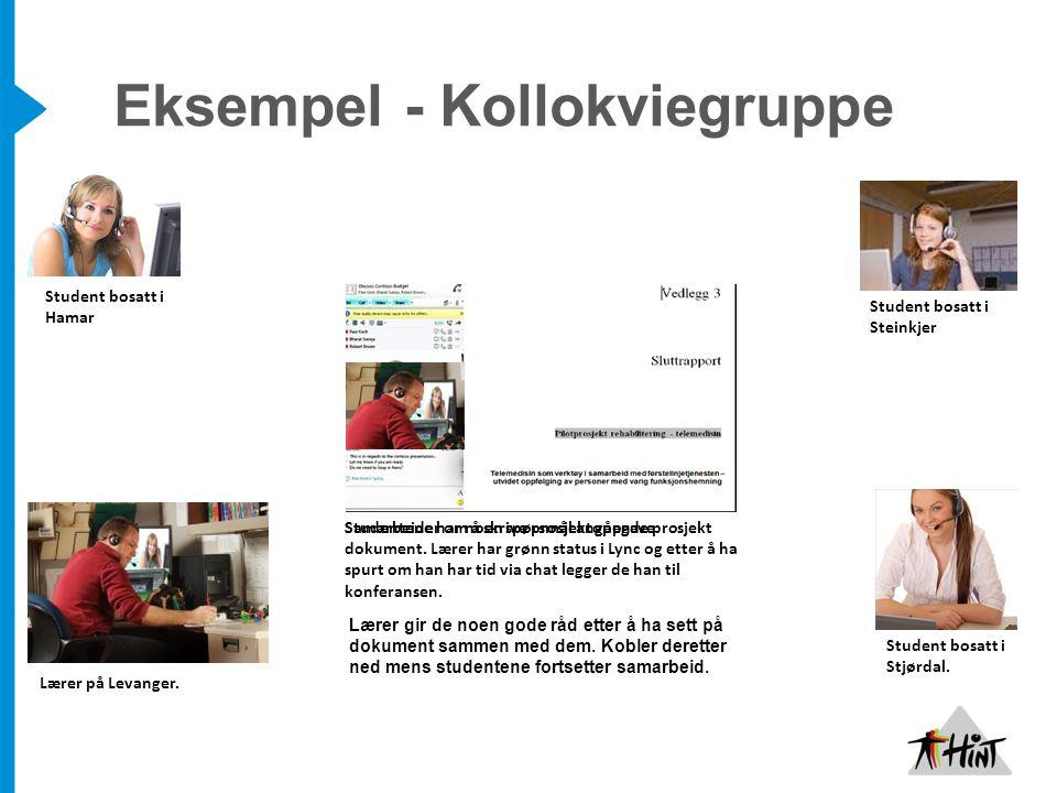 Eksempel - Kollokviegruppe Student bosatt i Hamar Student bosatt i Steinkjer Student bosatt i Stjørdal.
