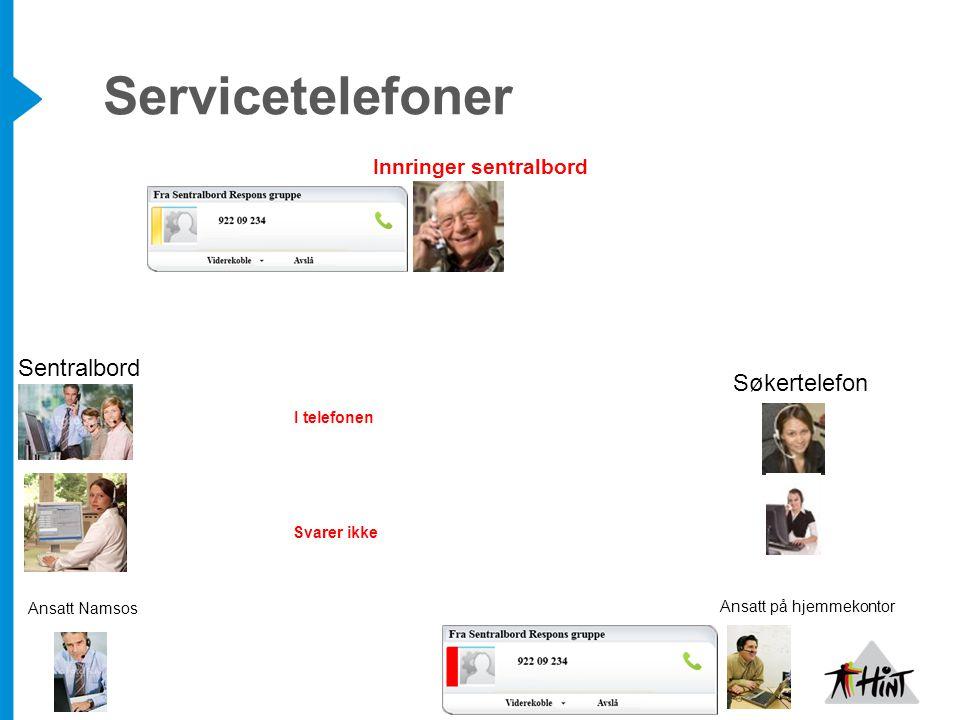 Servicetelefoner Søkertelefon Sentralbord Ansatt Namsos Ansatt på hjemmekontor Innringer sentralbord I telefonen Svarer ikke