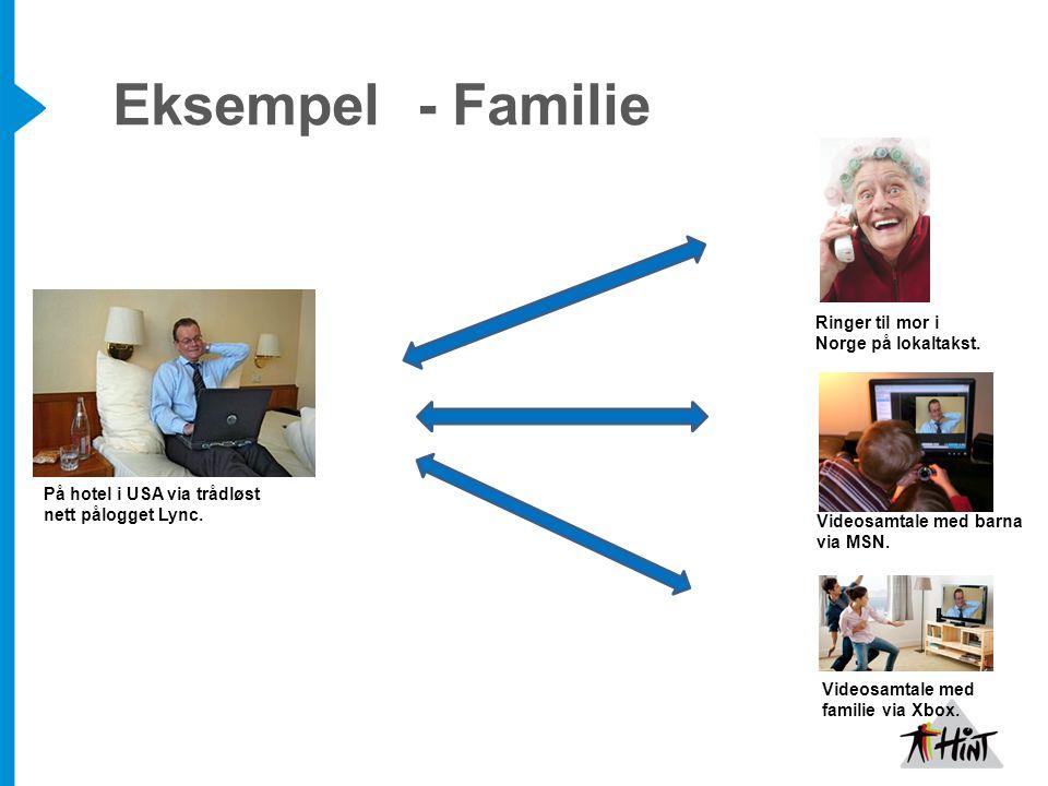 Eksempel - Familie På hotel i USA via trådløst nett pålogget Lync.