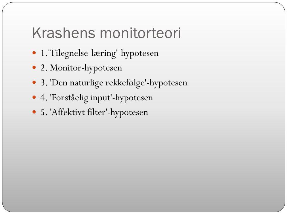 Krashens monitorteori  1.'Tilegnelse-læring'-hypotesen  2. Monitor-hypotesen  3. 'Den naturlige rekkefølge'-hypotesen  4. 'Forståelig input'-hypot