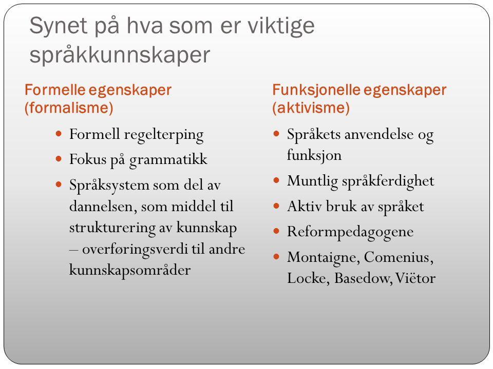 Synet på hva som er viktige språkkunnskaper Formelle egenskaper (formalisme) Funksjonelle egenskaper (aktivisme)  Formell regelterping  Fokus på gra