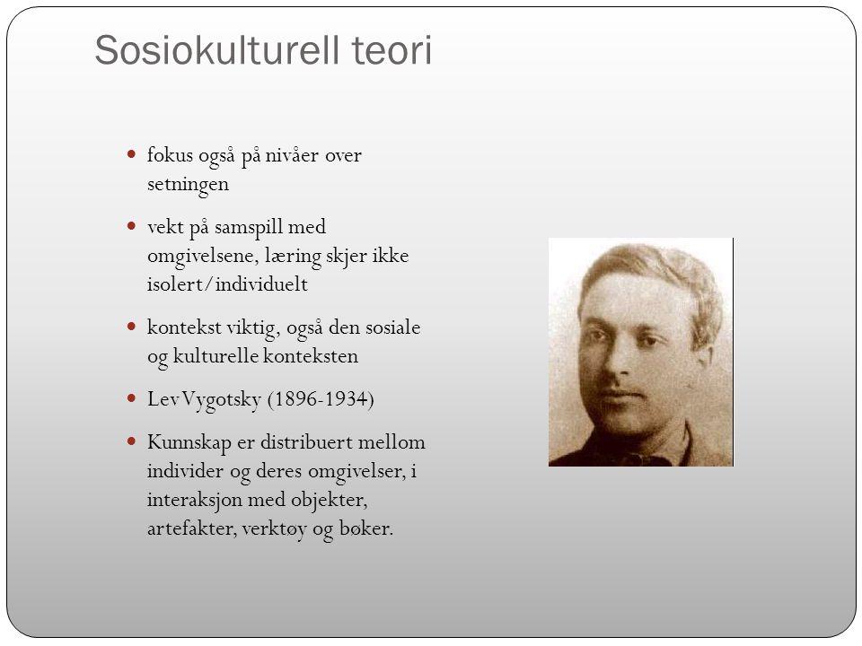 Sosiokulturell teori  fokus også på nivåer over setningen  vekt på samspill med omgivelsene, læring skjer ikke isolert/individuelt  kontekst viktig