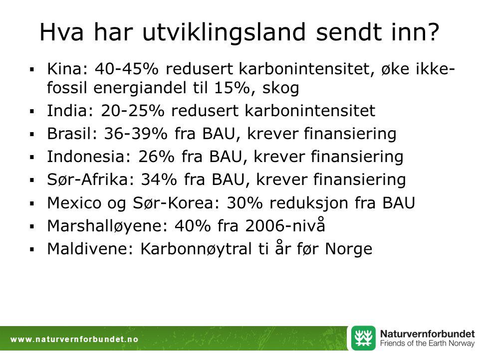 www.naturvernforbundet.no Hva har utviklingsland sendt inn.