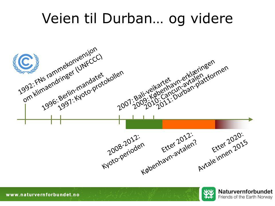 www.naturvernforbundet.no Veien til Durban… og videre 1992: FNs rammekonvensjon om klimaendringer (UNFCCC) 1997: Kyoto-protokollen 2008-2012: Kyoto-perioden 1996: Berlin-mandatet2007: Bali-veikartet Etter 2012: København-avtalen.