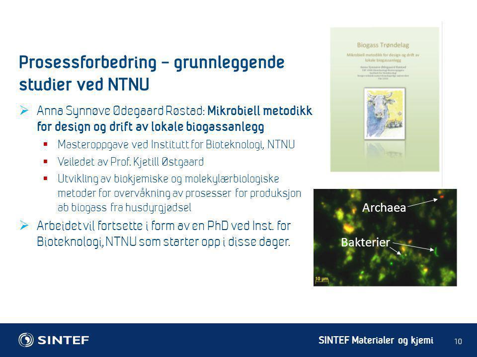 SINTEF Materialer og kjemi  Anna Synnøve Ødegaard Røstad: Mikrobiell metodikk for design og drift av lokale biogassanlegg  Masteroppgave ved Institu