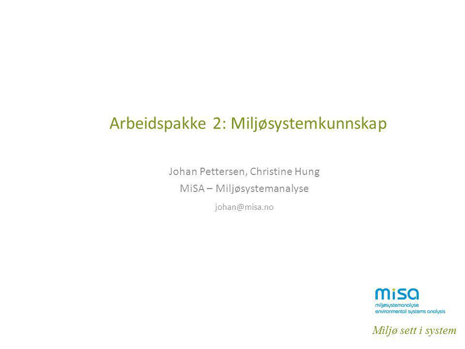 Miljø sett i system Arbeidspakke 2: Miljøsystemkunnskap Johan Pettersen, Christine Hung MiSA – Miljøsystemanalyse johan@misa.no