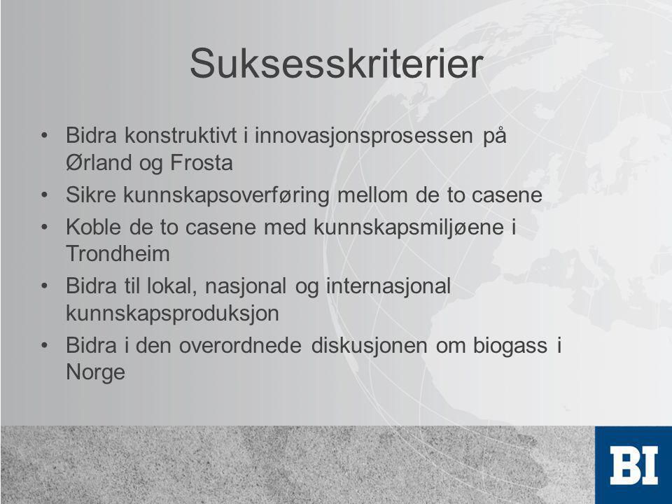 Suksesskriterier •Bidra konstruktivt i innovasjonsprosessen på Ørland og Frosta •Sikre kunnskapsoverføring mellom de to casene •Koble de to casene med