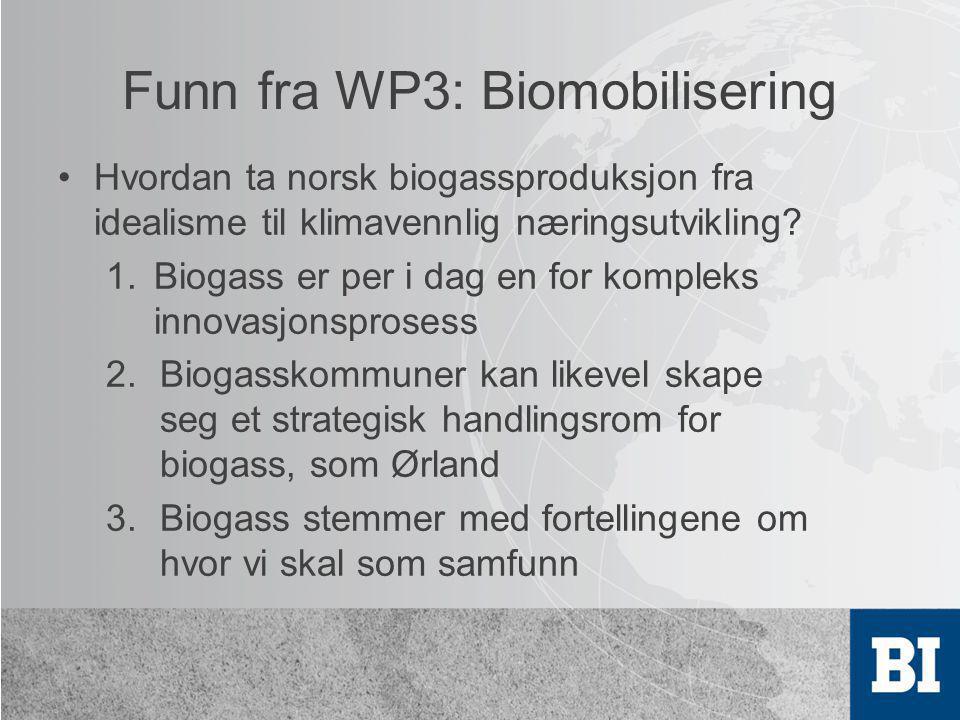 Funn fra WP3: Biomobilisering •Hvordan ta norsk biogassproduksjon fra idealisme til klimavennlig næringsutvikling? 1.Biogass er per i dag en for kompl