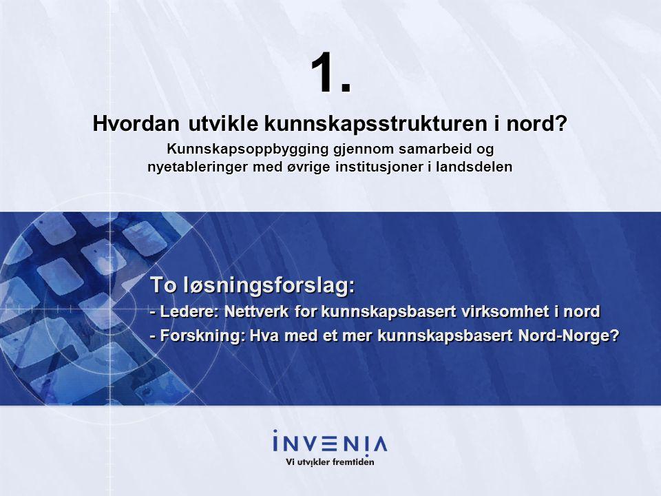 To løsningsforslag: - Ledere: Nettverk for kunnskapsbasert virksomhet i nord - Forskning: Hva med et mer kunnskapsbasert Nord-Norge? 1. Hvordan utvikl