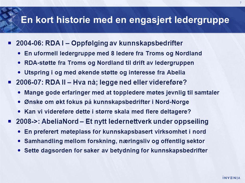 7 En kort historie med en engasjert ledergruppe  2004-06: RDA I – Oppfølging av kunnskapsbedrifter  En uformell ledergruppe med 8 ledere fra Troms o