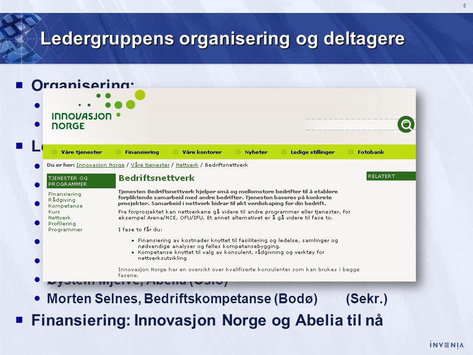 8 Ledergruppens organisering og deltagere  Organisering:  Til nå: Uformell ledergruppe fra Troms og Nordland  I fortsettelsen: Ledernettverk for ku