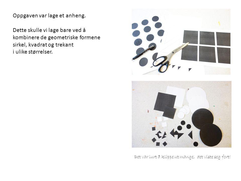 Ulike former for oppheng ble prøvd ut: Kobbergul snor (som tar opp fargen i kopperet) og svart snor.