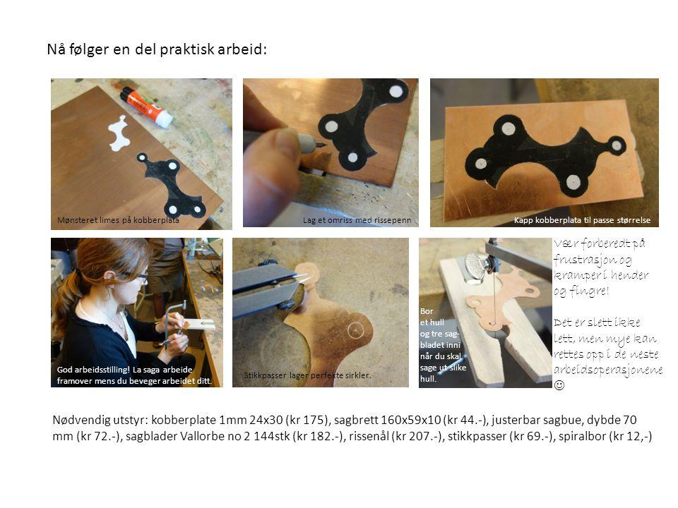 Nødvendig utstyr: kobberplate 1mm 24x30 (kr 175), sagbrett 160x59x10 (kr 44.-), justerbar sagbue, dybde 70 mm (kr 72.-), sagblader Vallorbe no 2 144st