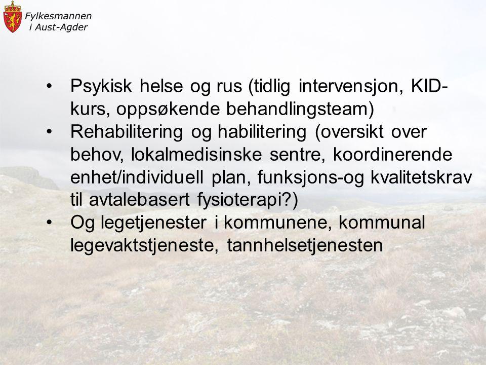 •Psykisk helse og rus (tidlig intervensjon, KID- kurs, oppsøkende behandlingsteam) •Rehabilitering og habilitering (oversikt over behov, lokalmedisins