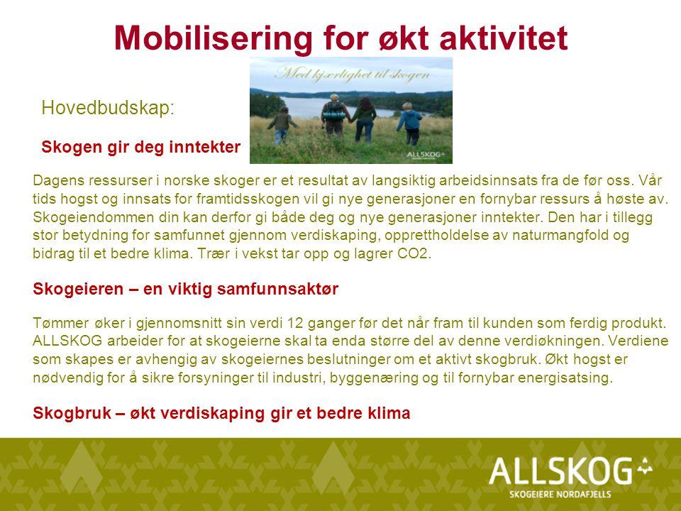 Mobilisering for økt aktivitet Hovedbudskap: Skogen gir deg inntekter Dagens ressurser i norske skoger er et resultat av langsiktig arbeidsinnsats fra de før oss.