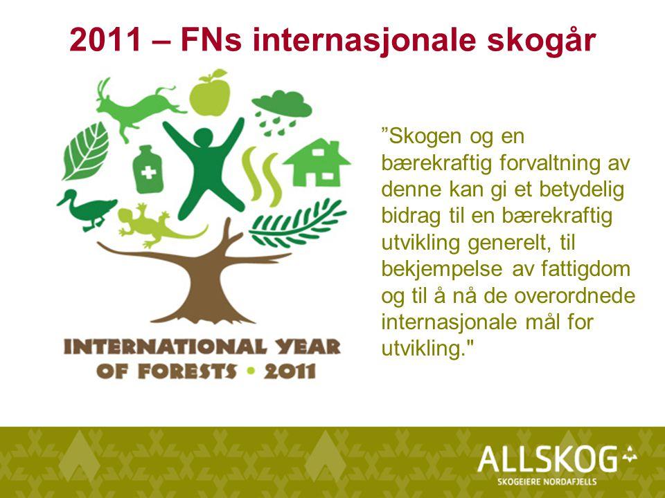 Skogen og en bærekraftig forvaltning av denne kan gi et betydelig bidrag til en bærekraftig utvikling generelt, til bekjempelse av fattigdom og til å nå de overordnede internasjonale mål for utvikling. 2011 – FNs internasjonale skogår