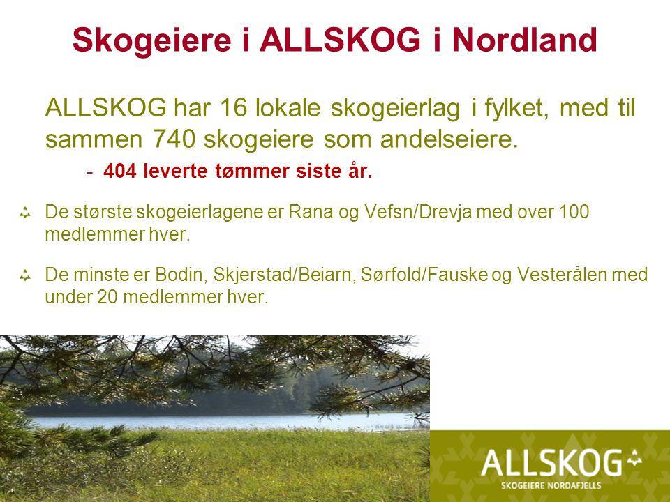 Skogeiere i ALLSKOG i Nordland ALLSKOG har 16 lokale skogeierlag i fylket, med til sammen 740 skogeiere som andelseiere.