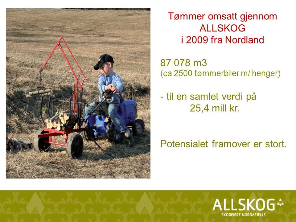 87 078 m3 (ca 2500 tømmerbiler m/ henger) - til en samlet verdi på 25,4 mill kr.