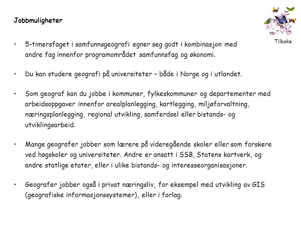 Jobbmuligheter •5-timersfaget i samfunnsgeografi egner seg godt i kombinasjon med andre fag innenfor programområdet samfunnsfag og økonomi. •Du kan st
