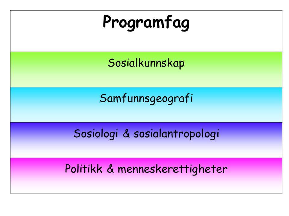 Programfag Sosialkunnskap Samfunnsgeografi Sosiologi & sosialantropologi Politikk & menneskerettigheter