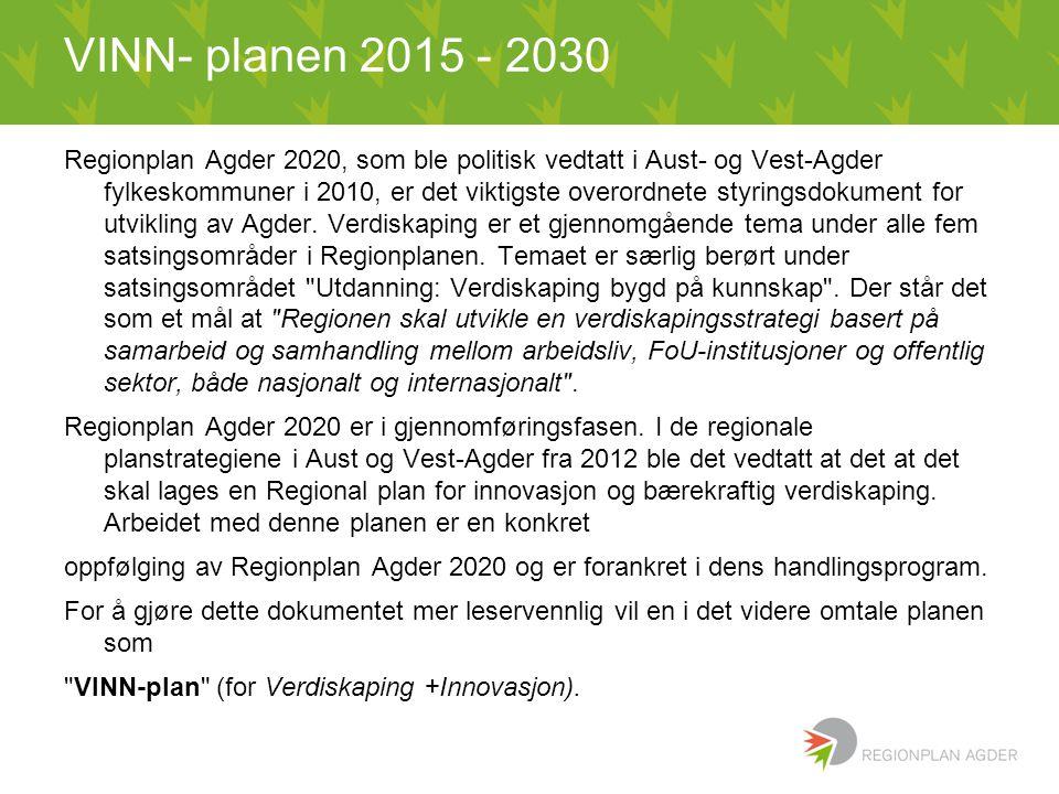 VINN- planen 2015 - 2030 Regionplan Agder 2020, som ble politisk vedtatt i Aust- og Vest-Agder fylkeskommuner i 2010, er det viktigste overordnete styringsdokument for utvikling av Agder.