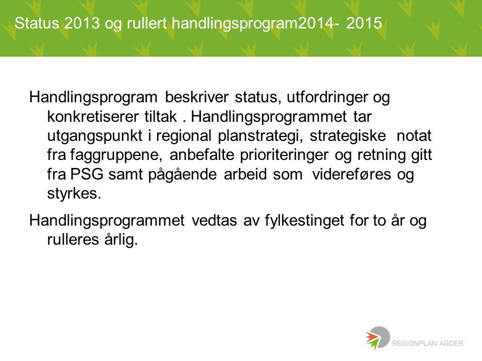 Status 2013 og rullert handlingsprogram2014- 2015 Handlingsprogram beskriver status, utfordringer og konkretiserer tiltak.