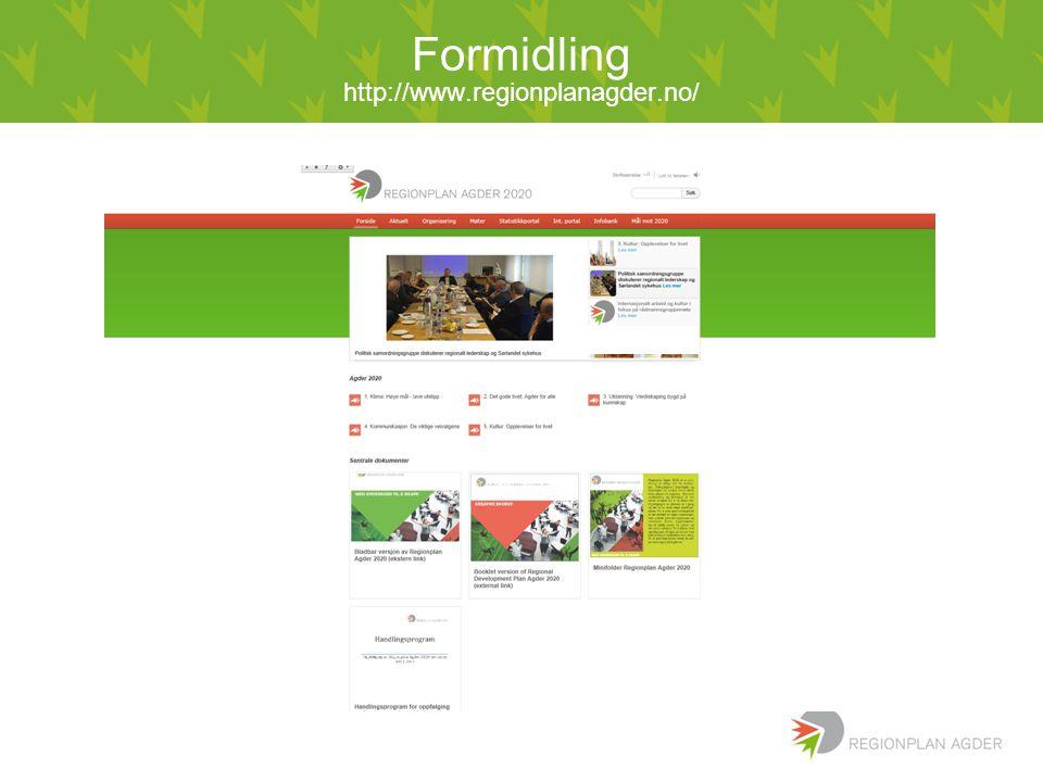 Formidling http://www.regionplanagder.no/ http://www.regihttp://www.regionplanagder.no/ onplanagder.no/