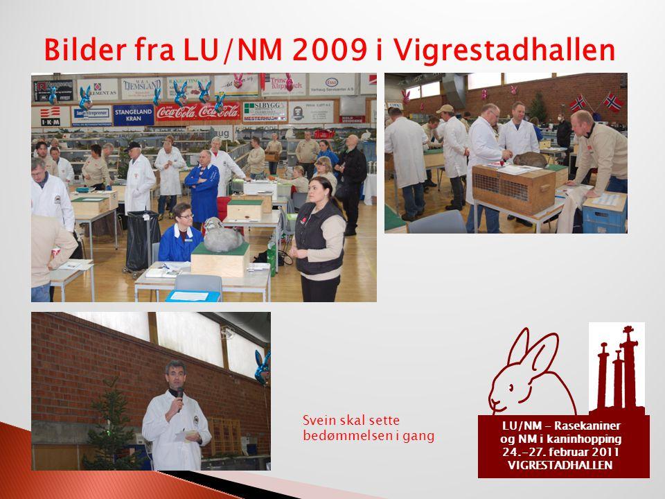 LU/NM - Rasekaniner og NM i kaninhopping 24.-27. februar 2011 VIGRESTADHALLEN Bilder fra LU/NM 2009 i Vigrestadhallen Svein skal sette bedømmelsen i g