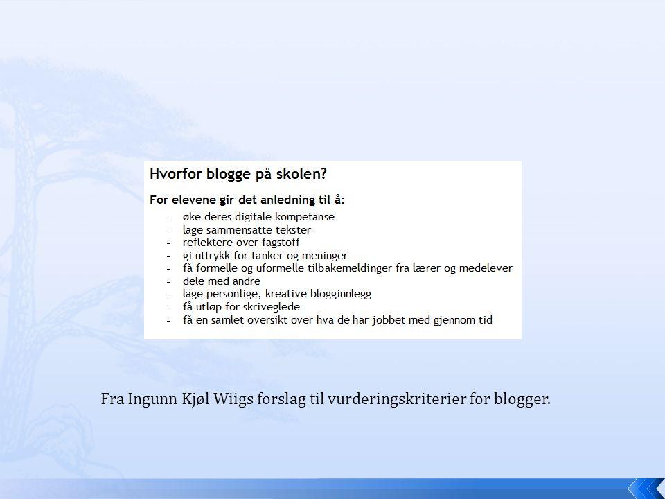 Fra Ingunn Kjøl Wiigs forslag til vurderingskriterier for blogger.