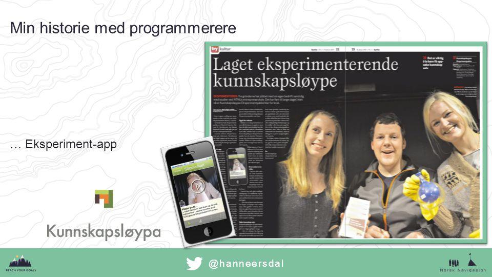 @hanneersdal Min historie med programmerere …Eksperiment-app